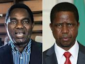 Faceoff: The August 12 vote was the third time that Hichilema, left, had faced off with Lungu, right