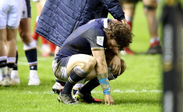 Hamish Watson reacts after the defeat to Wales