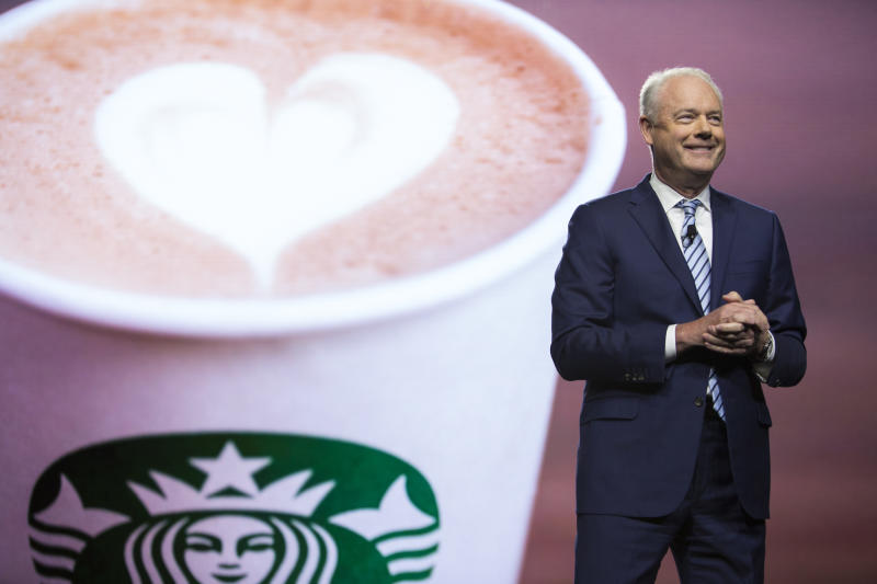 Starbucks President and Chief Executive Officer Kevin Johnson is pictured at the Annual Meeting of Shareholders in Seattle, Washington on March 20, 2019. (Photo by Jason Redmond / AFP) (Photo credit should read JASON REDMOND/AFP via Getty Images)
