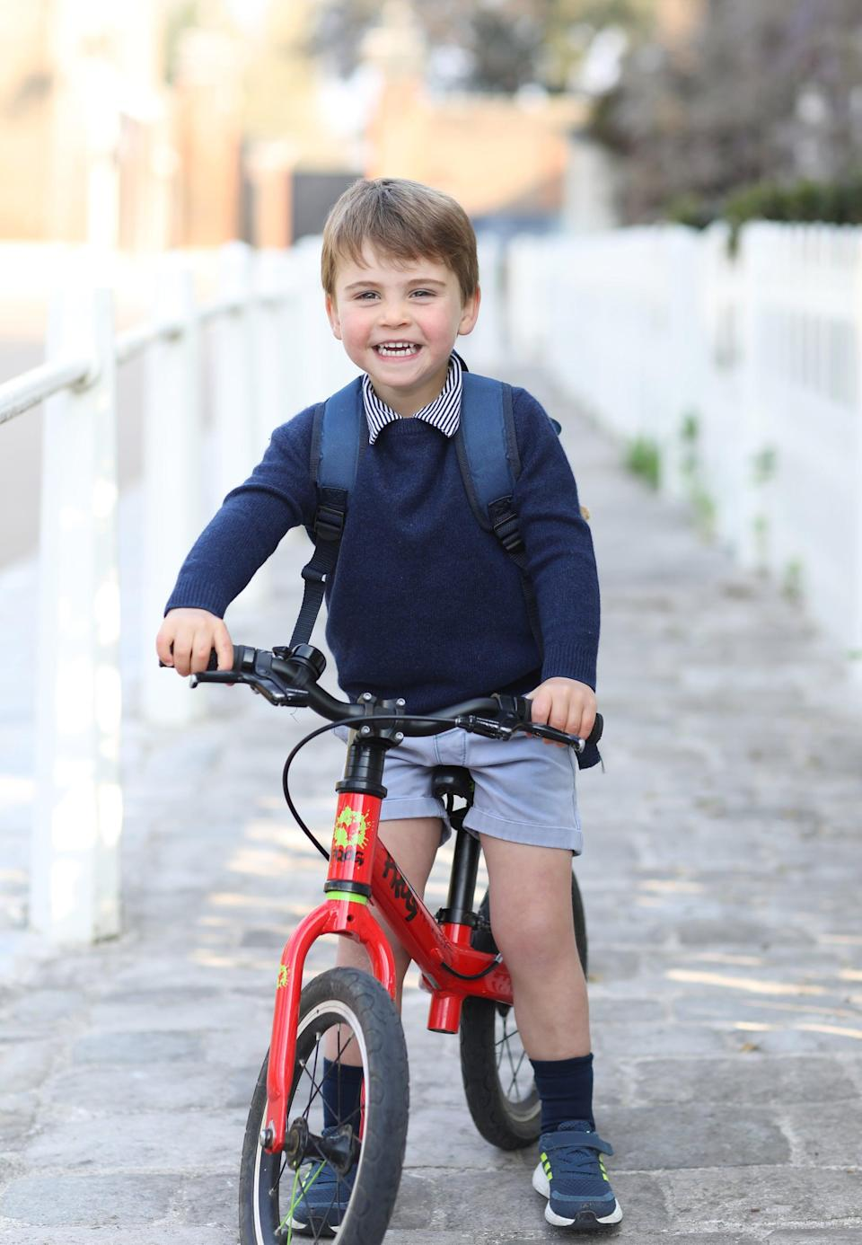 LONDON, UNITED KINGDOM - APRIL 21: ***This photograph must not be used after 31st December 2021 without prior permission from Kensington Palace. MANDATORY CREDIT: The Duchess of Cambridge.*** In this handout photo issued on April 22, 2021 by Kensington Palace and taken by Catherine, Duchess of Cambridge, Prince Louis rides his bicycle at home, prior to leaving for his first day of nursery at the Willcocks Nursery School, at Kensington Palace on April 21, 2021 in London, England. NEWS EDITORIAL USE ONLY. NO COMMERCIAL USE. NO MERCHANDISING, ADVERTISING, SOUVENIRS, MEMORABILIA or COLOURABLY SIMILAR. This photograph is provided to you strictly on condition that you will make no charge for the supply, release or publication of it and that these conditions and restrictions will apply (and that you will pass these on) to any organisation to whom you supply it. There shall be no commercial use whatsoever of the photographs (including by way of example only) any use in merchandising, advertising or any other non-news editorial use. The photographs must not be digitally enhanced, manipulated or modified in any manner or form and must include all of the individuals in the photograph when published. All other requests for use should be directed to the Press Office at Kensington Palace in writing. NOTE TO EDITORS: This handout photo may only be used in for editorial reporting purposes for the contemporaneous illustration of events, things or the people in the image or facts mentioned in the caption. Reuse of the picture may require further permission from the copyright holder. (Photo by The Duchess of Cambridge/Kensington Palace via Getty Images)