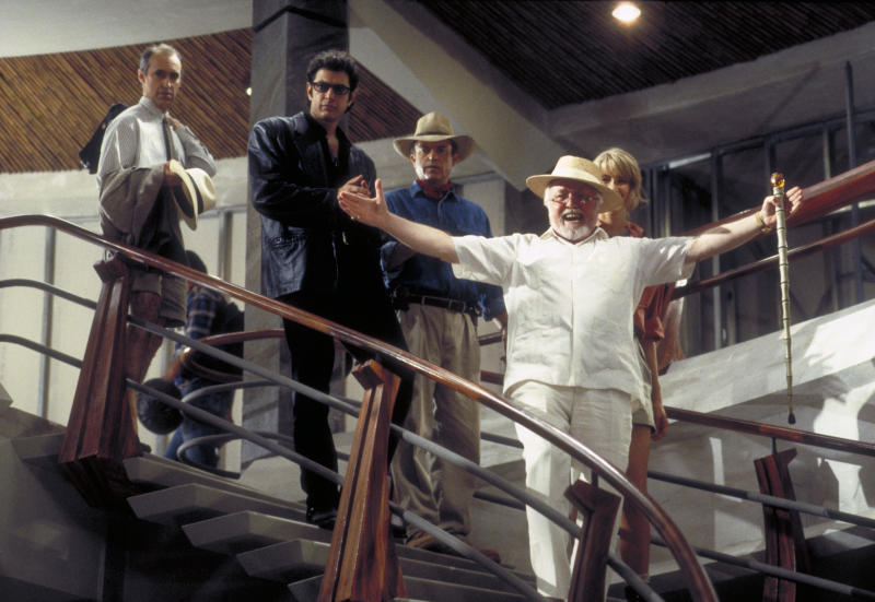 From left to right, actors Martin Ferrero as Gennaro, Jeff Goldblum as Dr. Ian Malcolm, Sam Neill as Dr. Alan Grant, Richard Attenborough as John Hammond and Laura Dern as Dr. Ellie Sattler in a scene from the film 'Jurassic Park', 1993. (Photo by Murray Close/Getty Images)