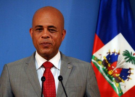 Haiti's President Michel Martelly gives a press conference in Madrid on July 7, 2011
