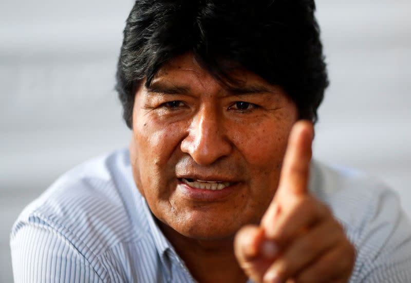 Former Bolivian President Evo Morales gestures during an interview with Reuters, in Buenos Aires