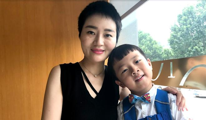 Li Wenzu and her son Wang Guangwei were finally given permission to visit their husband and father after four years. Photo: Mimi Lau
