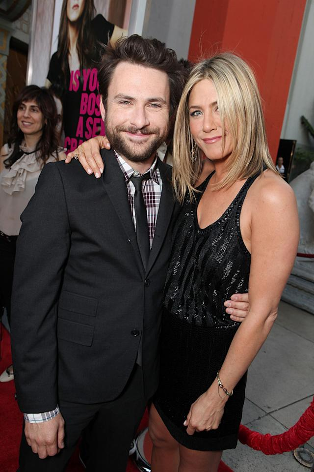 """<a href=""""http://movies.yahoo.com/movie/contributor/1807657139"""">Charlie Day</a> and <a href=""""http://movies.yahoo.com/movie/contributor/1800021397"""">Jennifer Aniston</a> at the Los Angeles premiere of <a href=""""http://movies.yahoo.com/movie/1810161382/info"""">Horrible Bosses</a> on June 30, 2011."""