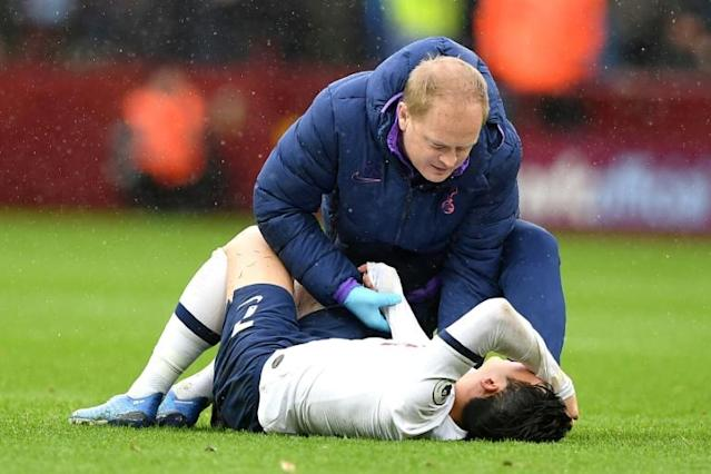 Tottenham Hotspur star Son Heung-min's arm injury is a cruel blow as he had been in a rich vein of form scoring in their last five matches (AFP Photo/Justin TALLIS)