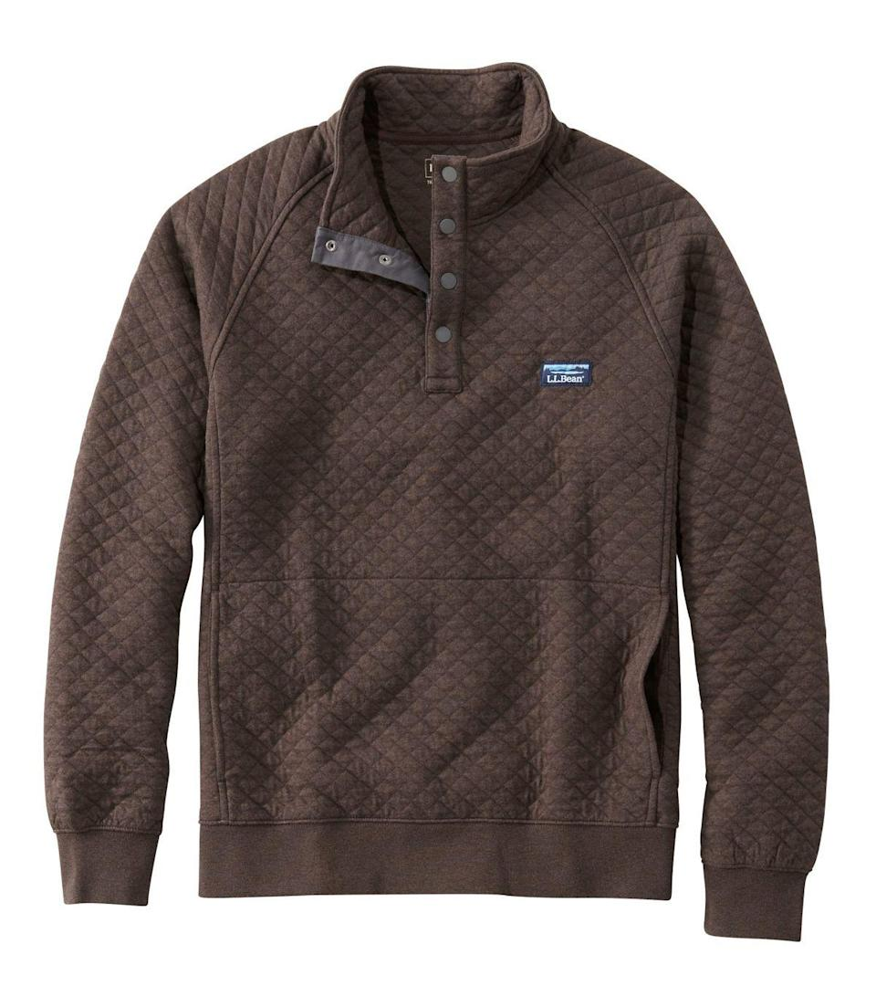 """<h2>L.L. Bean Quilted Mockneck Sweatshirt<br></h2><br><strong>Under $100<br></strong>You can file this under """"another gift you might steal from your dad once he forgets about it.""""<br><br><em>Shop <strong><a href=""""https://www.llbean.com/llb/shop/26?bc=12"""" rel=""""nofollow noopener"""" target=""""_blank"""" data-ylk=""""slk:L.L. Bean"""" class=""""link rapid-noclick-resp"""">L.L. Bean</a></strong></em><br><br><strong>L.L. Bean</strong> Quilted Sweatshirt, $, available at <a href=""""https://go.skimresources.com/?id=30283X879131&url=https%3A%2F%2Fwww.llbean.com%2Fllb%2Fshop%2F123793"""" rel=""""nofollow noopener"""" target=""""_blank"""" data-ylk=""""slk:L.L. Bean"""" class=""""link rapid-noclick-resp"""">L.L. Bean</a>"""