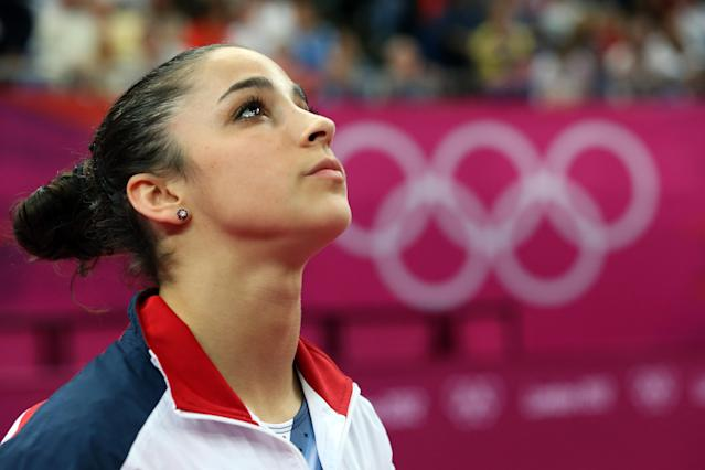 Alexandra Raisman of the United States looks on during the Artistic Gymnastics Women's Floor Exercise final on Day 11 of the London 2012 Olympic Games at North Greenwich Arena on August 7, 2012 in London, England. (Photo by Ronald Martinez/Getty Images)
