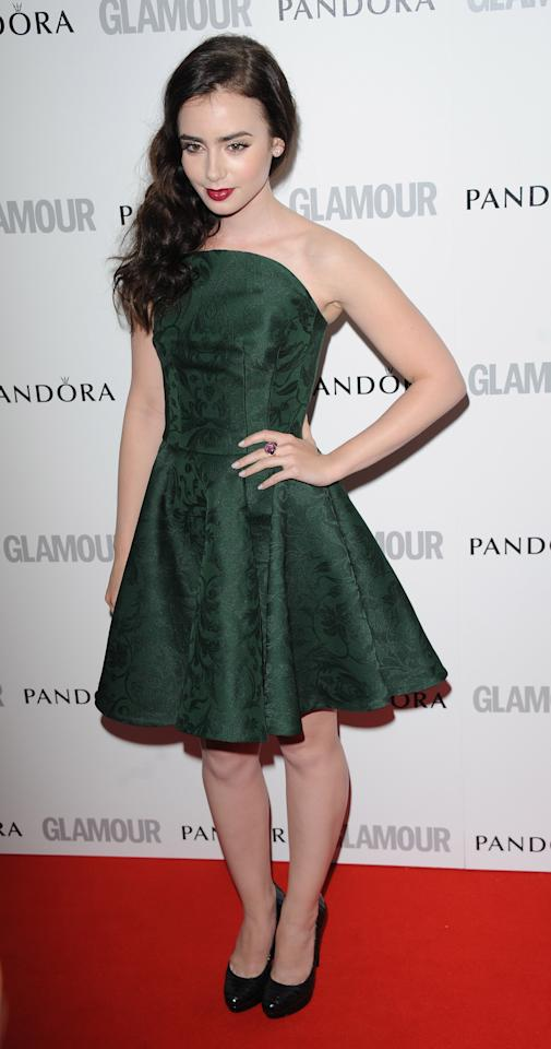 LONDON, UNITED KINGDOM - MAY 29: Lily Collins attends Glamour Women of the Year Awards 2012 at Berkeley Square Gardens on May 29, 2012 in London, England. (Photo by Stuart Wilson/Getty Images)