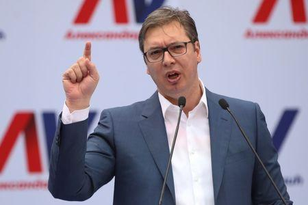 Serbian Prime Minister and President-elect Aleksandar Vucic speaks during his rally in Novi Sad