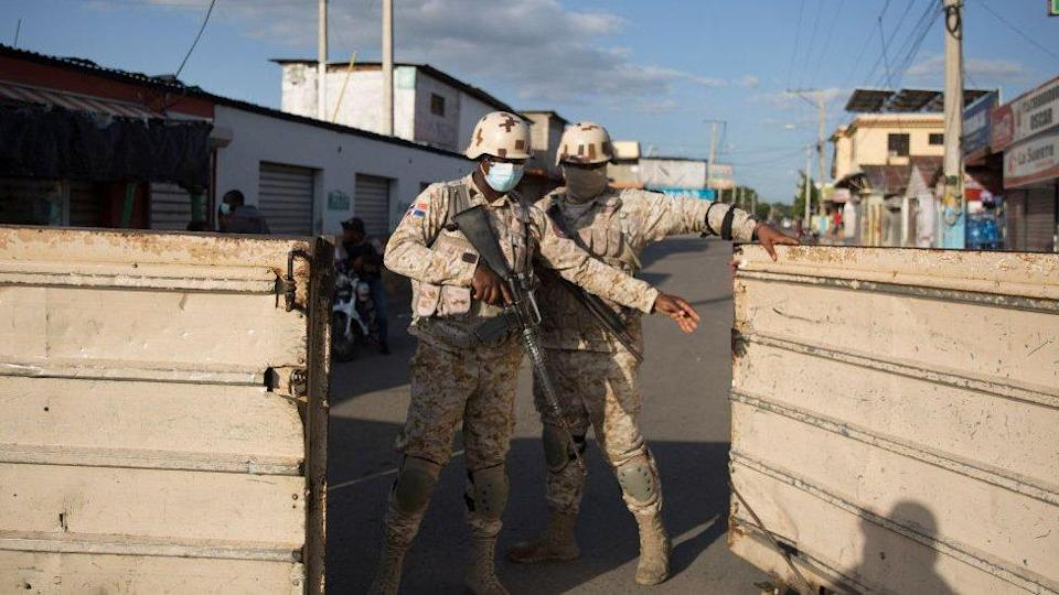 Armed forces at one of the border crossings between Haiti and Dominican Republic