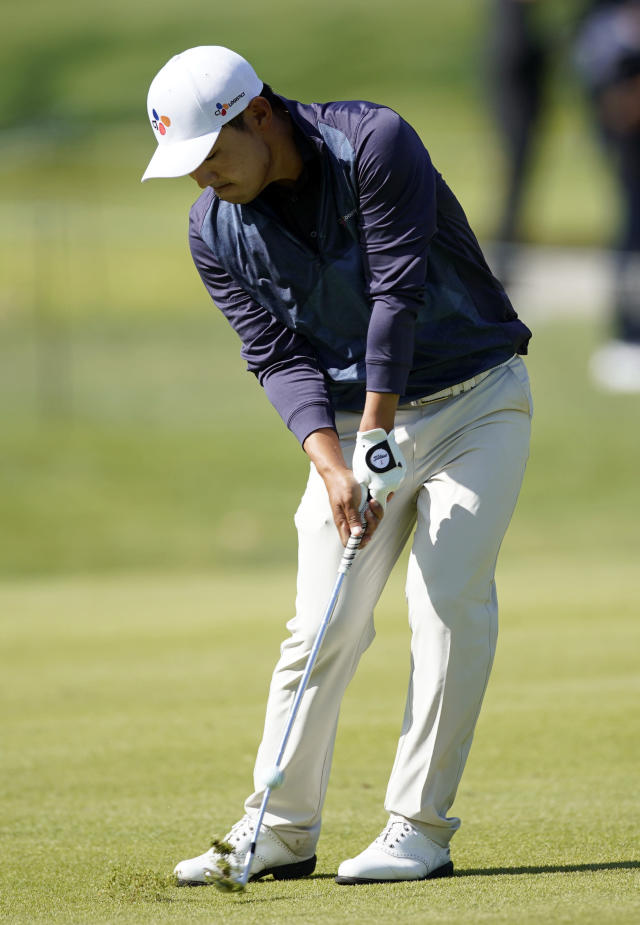 Sung Kang hits his third shot on the 17th hole during the second round of the Genesis Invitational golf tournament at Riviera Country Club, Friday, Feb. 14, 2020, in the Pacific Palisades area of Los Angeles. (AP Photo/Ryan Kang)