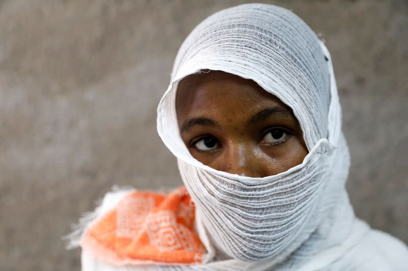 Ethiopian woman who says she was gang-raped by armed men is seen during an interview with Reuters in a hospital in the town of Adigrat, Tigray region