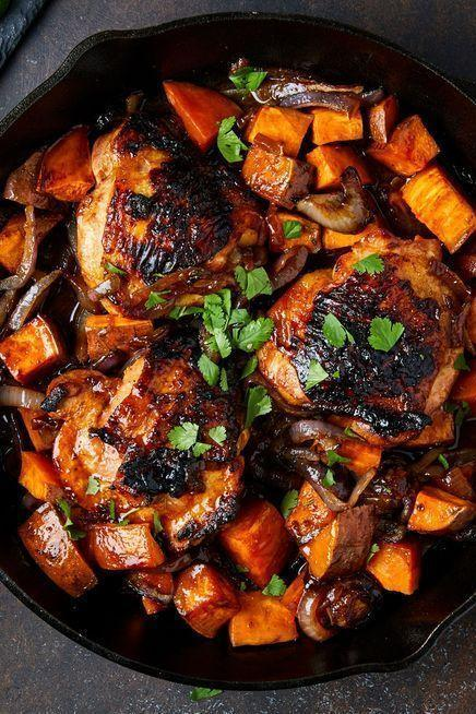 """<p>Most <a href=""""https://www.delish.com/uk/cooking/recipes/a28841199/best-grilled-chicken-breast-recipe/"""" rel=""""nofollow noopener"""" target=""""_blank"""" data-ylk=""""slk:marinades"""" class=""""link rapid-noclick-resp"""">marinades</a> have at least three main components: fat (olive oil), umami (soy sauce), and acid (lime juice). To take it to the next level, you need a spicy and sweet element. That's where the Sriracha and maple syrup come in. You wouldn't expect the two flavours to get along, but in this easy one-pan chicken dinner, they're BFFs.</p><p>Get the <a href=""""https://www.delish.com/uk/cooking/recipes/a35678569/maple-sriracha-chicken-recipe/"""" rel=""""nofollow noopener"""" target=""""_blank"""" data-ylk=""""slk:Maple Sriracha Chicken"""" class=""""link rapid-noclick-resp"""">Maple Sriracha Chicken</a> recipe.</p>"""