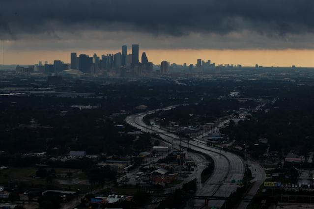 <p>A aerial view of downtown on August 29, 2017 in Houston, Texas. (Photo: Marcus Yam / Los Angeles Times via Getty Images) </p>