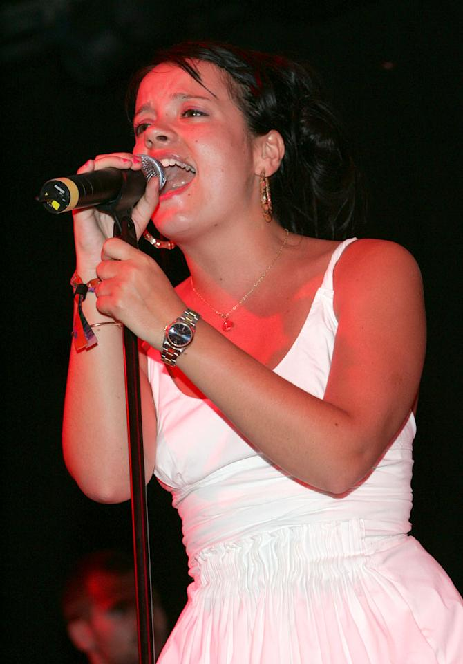 """Lily Allen takes the stage at the 2007 Coachella Music Festival. Barry Brecheisen/<a href=""""http://www.wireimage.com"""" target=""""new"""">WireImage.com</a> - April 29, 2007"""