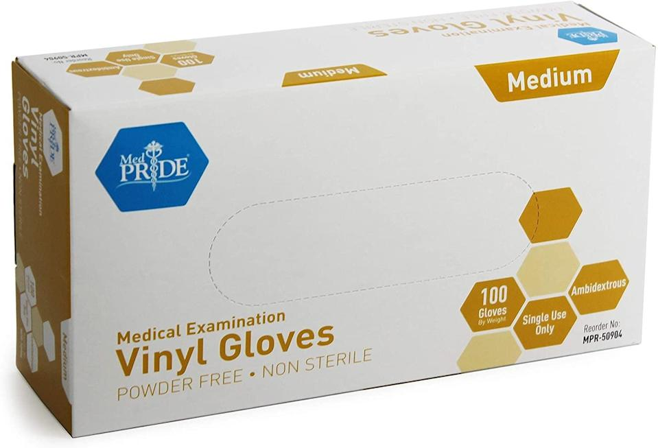 <p>Keep your hands clean and protected with these disposable <span>Medpride Medical Vinyl Examination Gloves</span> ($15, originally $25).</p>