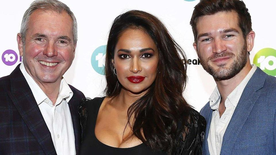 Former Neighbours actress Sharon Johal (centre) with castmates Alan Fletcher and Bell Hall