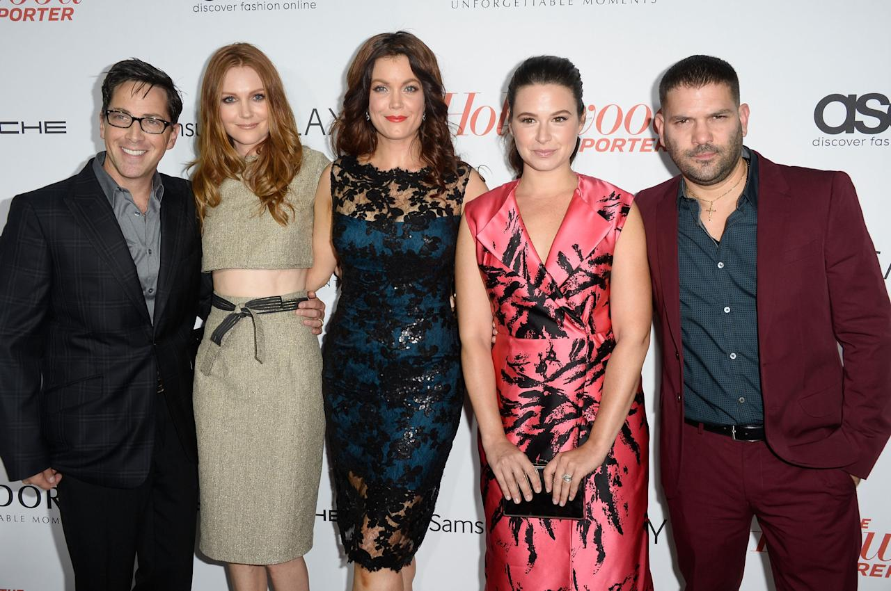 WEST HOLLYWOOD, CA - SEPTEMBER 19:Actors Dan Bucatinsky, Darby Stanchfield, Bellamy Young, Katie Lowes, and Guillermo Diaz arrive at The Hollywood Reporter's Emmy Party at Soho House on September 19, 2013 in West Hollywood, California. (Photo by Frazer Harrison/Getty Images)
