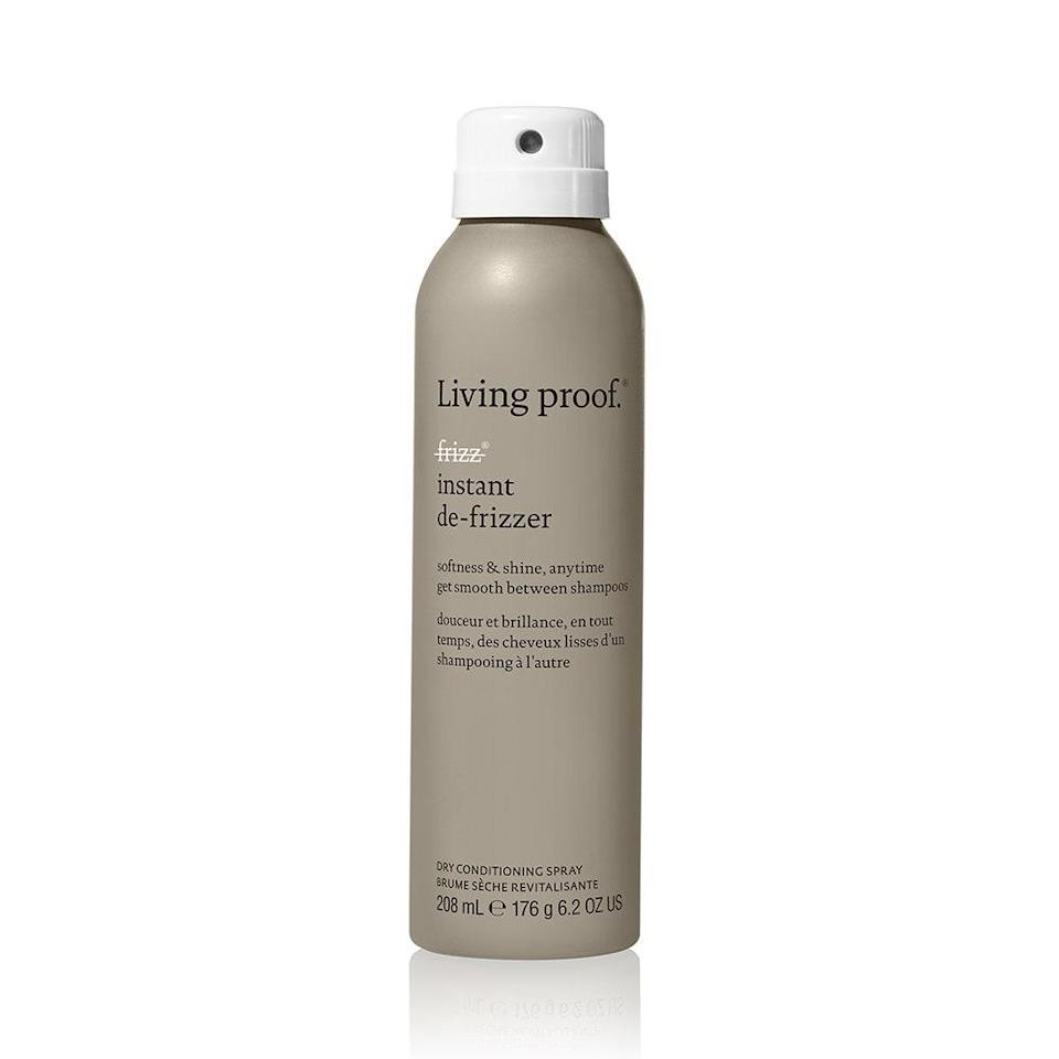 "<p>Living Proof's Instant De-Frizzer Dry Conditioning Spray breathes new life into dull hair in-between washes. Thanks to a five-oil blend (including jojoba seed and moringa seed oils) that mimics the oils found in healthy hair, this mist replaces frizz with shine and soft, smooth texture. It also provides UV protection, so humidity won't ruin your style.</p> <p><strong>$15 for 2.8 ounces</strong> (<a href=""https://www.amazon.com/Living-Proof-Instant-Frizzer-Conditioning/dp/B07HLCB5LP"" rel=""nofollow noopener"" target=""_blank"" data-ylk=""slk:Shop Now"" class=""link rapid-noclick-resp"">Shop Now</a>) or <strong>$29 for 6.2 ounces</strong> (<a href=""https://www.amazon.com/Living-Proof-Frizz-Instant-Frizzer/dp/B07BH5R8YF"" rel=""nofollow noopener"" target=""_blank"" data-ylk=""slk:Shop Now"" class=""link rapid-noclick-resp"">Shop Now</a>) </p>"