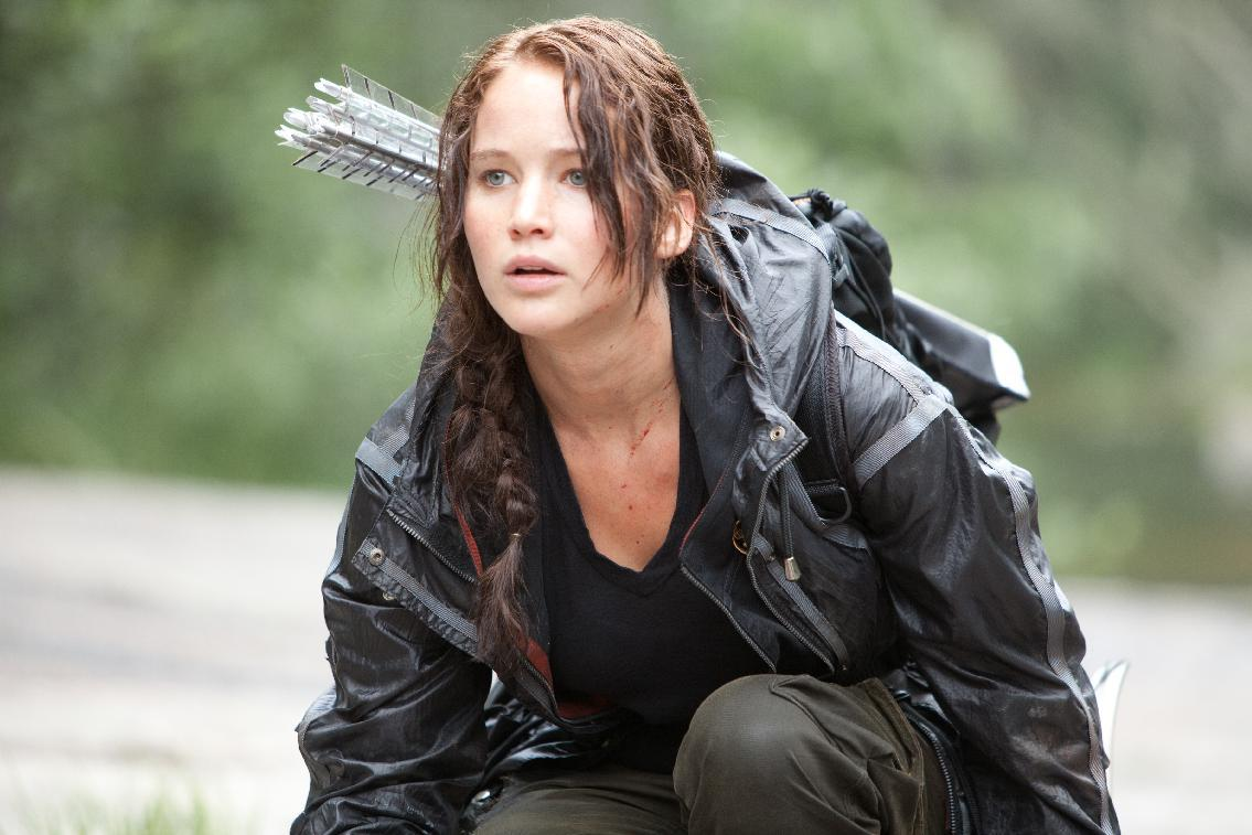 "In this image released by Lionsgate, Jennifer Lawrence portrays Katniss Everdeen in a scene from ""The Hunger Games."" (AP Photo/Lionsgate, Murray Close)"