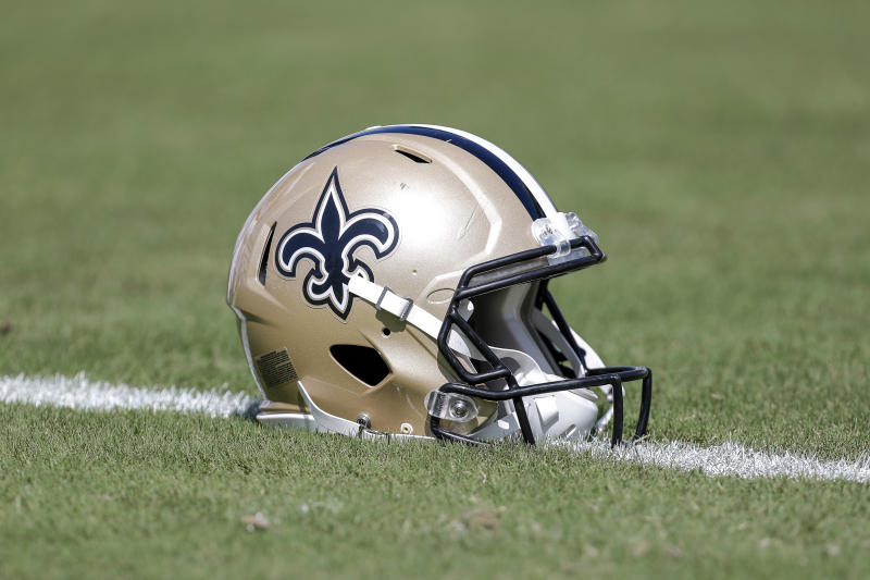 JACKSONVILLE, FL - OCTOBER 13: A New Orleans Saints helmet is shown on the field before a game against the Jacksonville Jaguars at TIAA Bank Field on October 13, 2019 in Jacksonville, Florida. The Saints defeated the Jaguars 13-6. (Photo by Don Juan Moore/Getty Images)