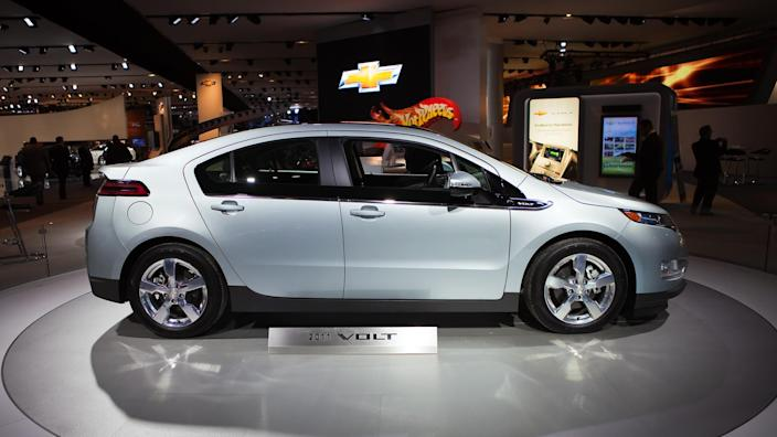 DETROIT - JANUARY 10: The 2011 Chevy Volt on display at the 2011 North American International Auto Show Press Preview on January 10, 2011 in Detroit, Michigan.