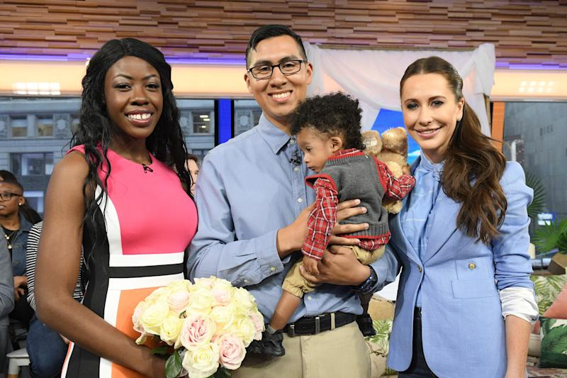 """GOOD MORNING AMERICA - 3/22/19 Bobbie Case-Akins and Alonzo Vallecillo win a complete wedding giveaway planned by Jessica Mulroney on """"Good Morning America,"""" Friday, March 22, 2019, airing on the Walt Disney Television via Getty Images Television Network. GMA19 (Photo by Lorenzo Bevilaqua/Walt Disney Television via Getty Images) BOBBIE CASE-AKINS, ALONZO VALLECILLO, JESSICA MULRONEY"""