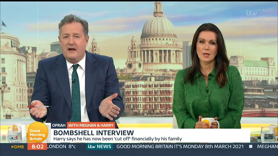 Piers Morgan and Susanna Reid on Good Morning Britain earlier this month (Photo: Rex)