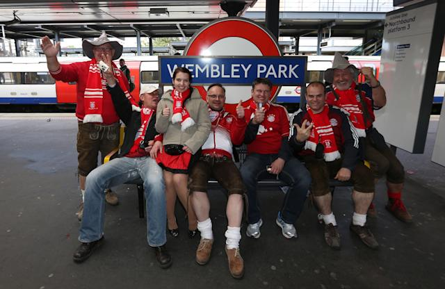 Bayern Munich's fans at Wembley Park tube station before the Champions League Final at Wembley, London.