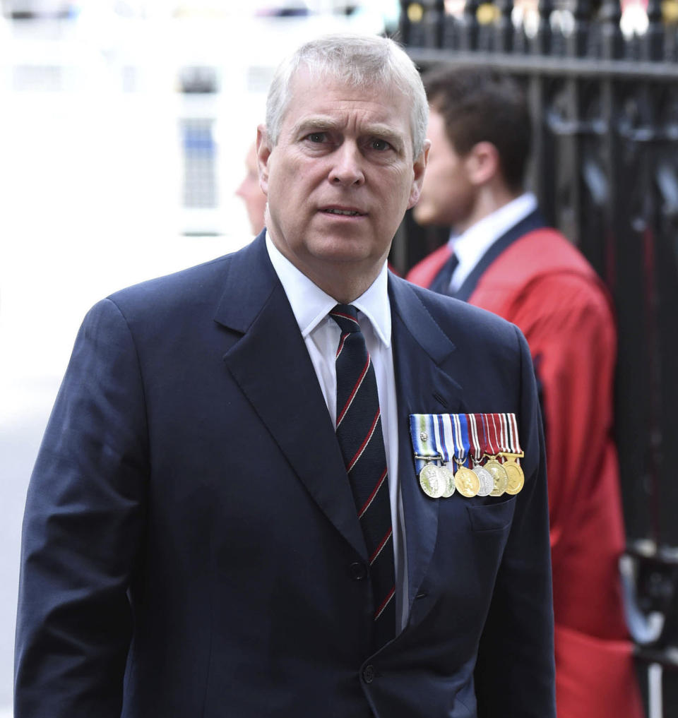 "June 8th 2020 - The United States Department of Justice demands that Great Britain hand over Prince Andrew to be formally questioned in the Jeffrey Epstein sex trafficking scandal. - January 27th 2020 - In a statement today, Geoffrey Berman the United States Attorney for the Southern District of New York said Prince Andrew has provided ""zero cooperation"" to United States law enforcement agents and investigators who wish to interview him regarding his association with the late millionaire sex offender Jeffrey Epstein. - November 21st 2019 - Prince Andrew The Duke of York steps down from all official royal public duties amid the escalation of his associations in the Jeffrey Epstein scandal. - File Photo by: zz/KGC-03/STAR MAX/IPx 2015 5/10/15 Prince Andrew The Duke of York attends the National Service of Thanksgiving at Westminster Abbey. (London, England, UK)"