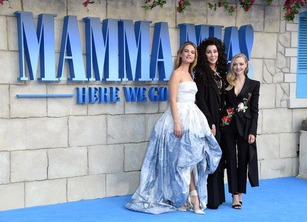 Cher was joined at the 'Mamma Mia! Here We Go Again' London premiere by co-stars Lily James (left) and Amanda Seyfried.