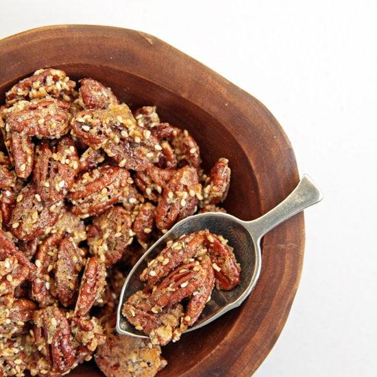 "<p><a href=""https://www.popsugar.com/food/Rosemary-Pecans-Recipe-9494272"" class=""ga-track"" data-ga-category=""Related"" data-ga-label=""http://www.yumsugar.com/Rosemary-Pecans-Recipe-9494272"" data-ga-action=""In-Line Links"">Rosemary-sesame pecans</a> are so easy and low-stress that you can whip them up in a flash! Crisp and crunchy, with a hit of breath-freshening rosemary, these nuts are dangerous and a great snack to serve when guests first arrive. </p>"