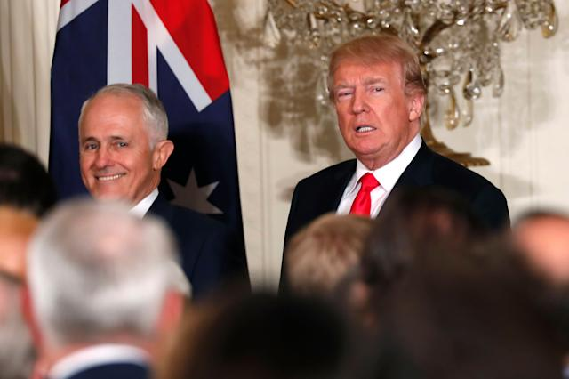 Australian Prime Minister Malcolm Turnbull (left) and President Donald Trump at the White House on February 23, 2018.