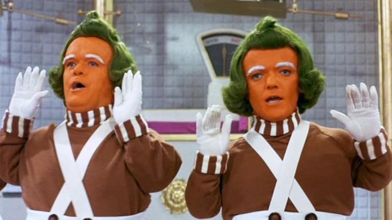 Oompa-Loompas in the 1971 movie 'Willy Wonka and the Chocolate Factory'. (Credit: Paramount)