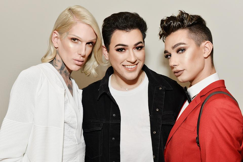 Jeffree Star, Manny Gutierrez and James Charles celebrate The Launch Of KKW Beauty on June 20, 2017 in Los Angeles, California.