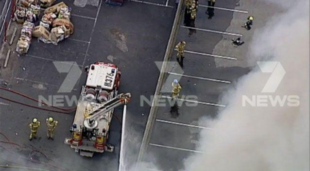 More than 60 firefighters battled the fire at the iconic Little Saigon Market in Melbourne's west. Picture: 7 News