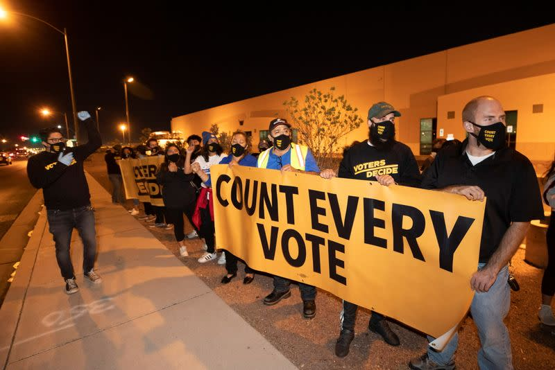 """""""Stop the Steal"""" protest at the Clark County Election Center in North Las Vegas"""