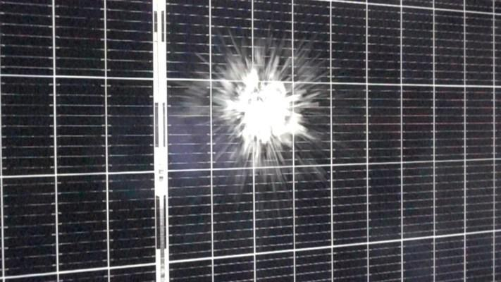 Hail strikes a solar module during PVEL's hail stress sequence, which is now a mandatory test in PVEL's PV Module Product Qualification (PQP) program.