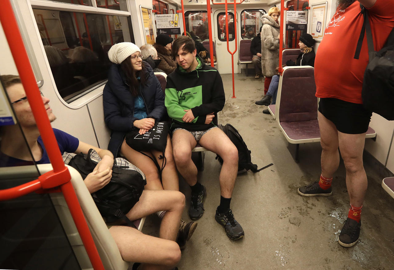 <p>Passengers take part in the No Pants Subway Ride in Prague on Jan. 8. The No Pants Subway Ride began in 2002 in New York as a stunt and has taken place in cities around the world since then. (Petr David Josek/AP) </p>