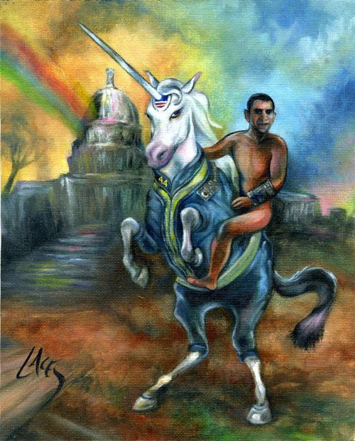 This is an 8 by 10 inch print on canvas of my Fallout Obama painting. The unicorn is wearing a vault dweller's uniform and Obama has a pipboy. The print is mailed flat, additionally hand-signed, and includes a complimentary refrigerator magnet featuring a previous painting.