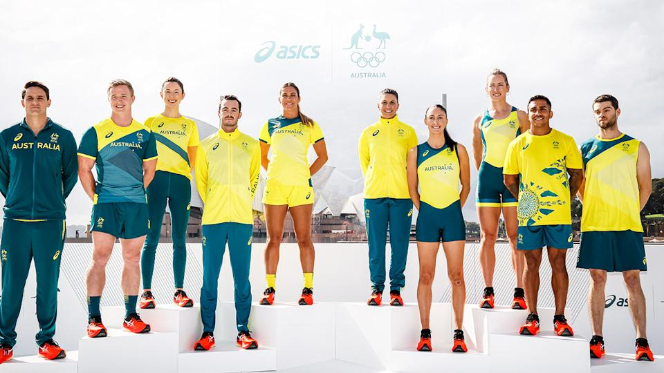 Australian athletes (pictured) posing in the Australian jersey for the Olympics.
