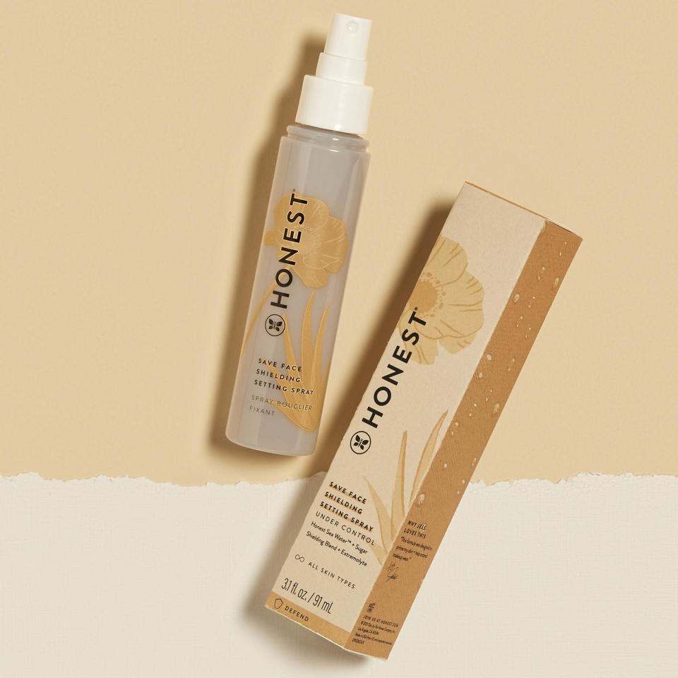 """The .99 """"shielding"""" setting spray, featuring the new packaging, is made for environmental protection. - Credit: Courtesy"""