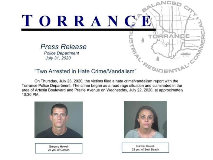 A press release from the Torrance Police Department in California about the arrests of Gregory and Rachel Howell.