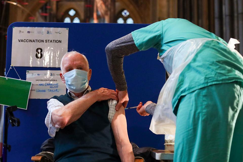 <p>Half of all over-80s have been vaccinated against coronavirus, Health Secretary Matt Hancock has said.</p> (PA)