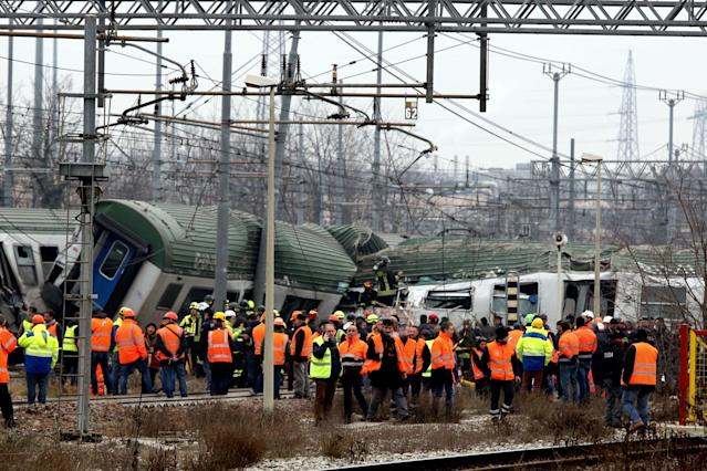 <p>Serious train accident between Pioltello and Segrate, train Trenord derails causing several injuries and deaths<br> Train derailed between Pioltello and Segrate, Milan, Italy, Jan. 25, 2018. (Photo: IPA/REX/Shutterstock) </p>