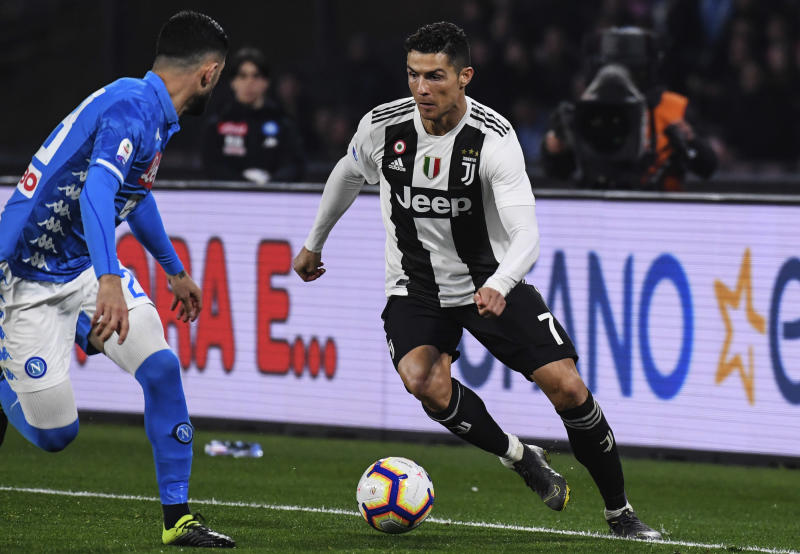 SAN PAOLO STADIUM, NAPLES, CAMPANIA, ITALY - 2019/03/03: Juventus' Portuguese forward Cristiano Ronaldo controls the ball during the Italian Serie A football match SSC Napoli vs Juventus FC at the San Paolo Stadium. Juventusi won the match 2-1. (Photo by Salvatore Laporta/KONTROLAB /LightRocket via Getty Images)
