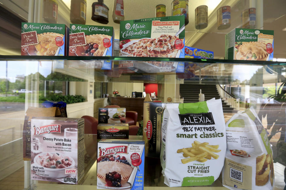 A selection of products made by ConAgra Foods is on display at ConAgra world headquarters in Omaha, Neb., Tuesday, June 30, 2015. ConAgra Foods Inc. plans to sell its faltering business that makes store-brand packaged food just two years after spending $5 billion to beef it up by buying the private-label food maker Ralcorp. (AP Photo/Nati Harnik)