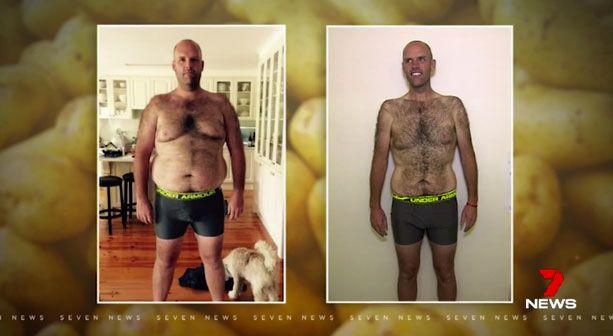 Mr Taylor has gone from weighing 151.7kg to 99.7kg in 12 months. Pictures: Supplied
