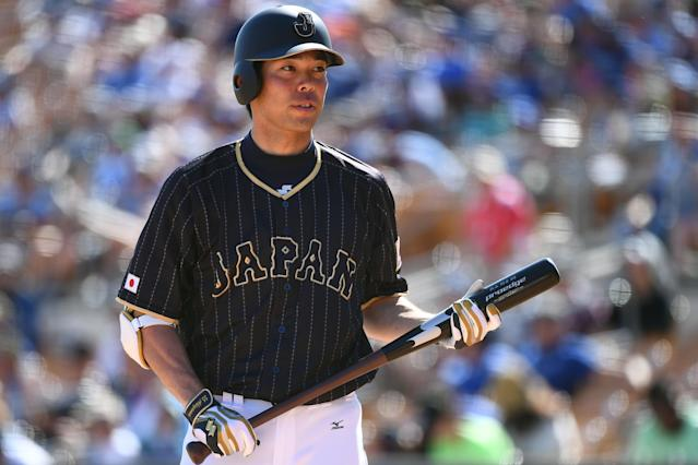 """Shogo Akiyama of Japan is seen during the exhibition game between Japan and <a class=""""link rapid-noclick-resp"""" href=""""/mlb/teams/la-dodgers/"""" data-ylk=""""slk:Los Angeles Dodgers"""">Los Angeles Dodgers</a> at Camelback Ranch on March 19, 2017 in Glendale, Arizona. (Masterpress/Getty Images)"""